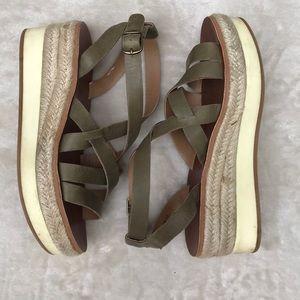 Lucky Brand Jenepper Wedge Sandal Olive Green Sz 5